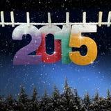Nummer 2015 die op een drooglijn hangen Stock Fotografie