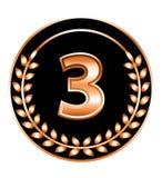 Nummer drie medaille Stock Afbeelding