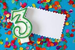Nummer drie verjaardagskaars Royalty-vrije Stock Afbeeldingen