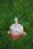 Nummer Eins-Geburtstagskerze auf kleinem Kuchen mit Sternen auf einem grünen Gras Stockfotos