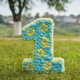 Nummer Eins gemacht von den Blumen auf grünem Gras Lizenzfreie Stockfotografie