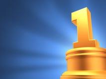 Nummer Eins-Preis-Blauhintergrund Stockfotografie