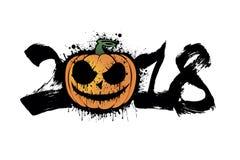 Nummer 2018 en Halloween-pompoen royalty-vrije illustratie