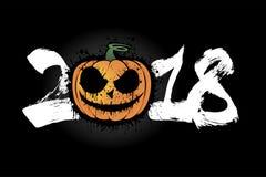 Nummer 2018 en Halloween-pompoen stock illustratie
