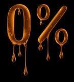 Nummer 0 en het percententeken worden gemaakt van kleverige vloeistof op zwarte Stock Afbeeldingen