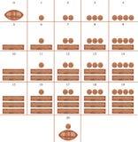 nummer för 0 20 hieroglyphmaya till tjugo nolla Royaltyfria Bilder