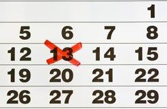 nummer för 13 kalender Fotografering för Bildbyråer