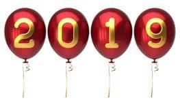 Nummer för ballonger för nyårsdagen 2019 röda guld- glansiga vektor illustrationer