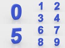 nummer för blått 3d från 0 till 9 royaltyfri illustrationer