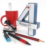 nummer för ` 3d för ` fyra med kontorsmaterial Arkivfoto