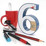 nummer för ` 3d för ` sex med kontorsmaterial Arkivfoton