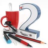 nummer för ` 3d för ` två med kontorsmaterial Royaltyfria Bilder