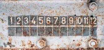 Nummer för diagram på den rostiga gamla drevväggen Arkivbilder