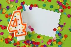 nummer för födelsedagstearinljus fyra Arkivbild