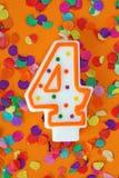 nummer för födelsedagstearinljus fyra Royaltyfria Bilder
