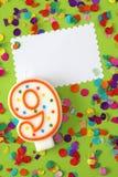 nummer för födelsedagstearinljus nio Arkivfoton
