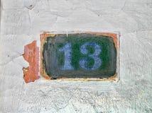 nummer för hus 13 Arkivbilder