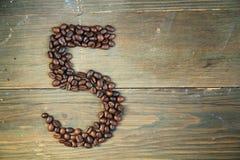 nummer för kaffe fem Royaltyfri Foto