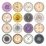 Nummer för pilar för klocka för visartavla för index för delar för färgrik tappning för klockaframsidor ringer moderna framsidave vektor illustrationer