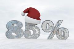 nummer för 85 procent rabattis med illustrationen för tolkning för julhatt 3d royaltyfri illustrationer