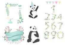 Nummer för svart björn för kort för beröm för födelsedag för hälsning för djur illustration för teckning för pandagemkonst gullig royaltyfri illustrationer