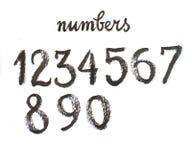 Nummer för svart för vattenfärghand skriftliga Stock Illustrationer