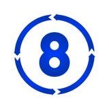 nummer för 8 symbol stock illustrationer