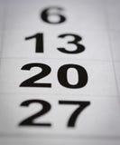 Nummer för tjugo kalender Arkivbild