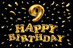 Nummer för vektorfödelsedagberöm 9 stearinljus med guld- ballonger Royaltyfri Bild