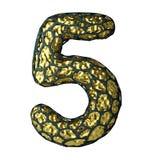 Nummer 5 fem gjorde av guld- glänsande metallisk 3D med den isolerade svarta buren på vit Royaltyfria Foton