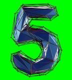 Nummer 5 fem i låg poly stilblåttfärg som isoleras på grön bakgrund 3d royaltyfri illustrationer