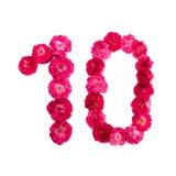 Nummer 10 från blommor av ett rött och rosa steg på en vit bakgrund Arkivfoton