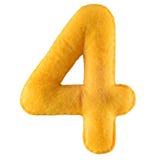 Nummer 4 från gul filt Arkivbild