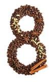 Nummer 8 från kaffebönor och art som isoleras på vit bakgrund Arkivfoto