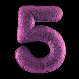 Nummer 5 från purpurfärgad filt Royaltyfria Bilder