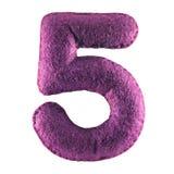 Nummer 5 från purpurfärgad filt Arkivbild
