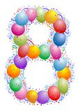 nummer för 8 ballongkonfettiar Arkivbilder