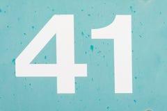 Nummer 41 fyrtio en blå gammal metallbakgrundstextur Royaltyfria Bilder