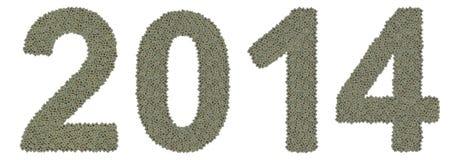 Nummer 2014 gemaakt van oude en vuile microprocessors Royalty-vrije Stock Foto