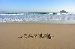 Nummer 2014 getrokken op het strand Royalty-vrije Stock Foto