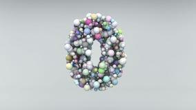 Nummer 0 gjorde av plast- pärlor, lilabubblor som isolerades på vit, 3d framför Royaltyfri Bild