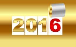 Nummer 2016 Guld- bakgrundsark av med krullningen Bac för nytt år Royaltyfri Foto