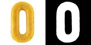 Nummer 0 Hand - gjord leksak från gul filt Symbol noll Arkivfoton