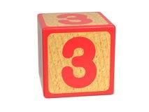 Nummer 3 - het Alfabetblok van Kinderen. Stock Afbeeldingen
