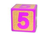 Nummer 5 - het Alfabetblok van Kinderen. Stock Afbeelding
