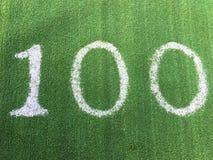 Nummer hundra 100 på grönt gräs Arkivbild