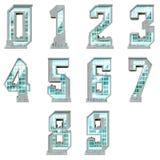 Nummer i form av stads- byggnader Stock Illustrationer