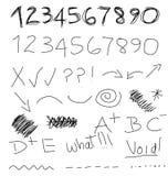 nummer klottrar symboler stock illustrationer