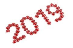 Nummer 2019 med röda hjärtor Vektor Illustrationer