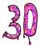 Nummer 30 met donuts Stock Foto's